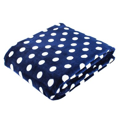 Canyon Creek Polka Dot Printed Fleece Blanket Color: Navy, Size: 80 L x 60 W