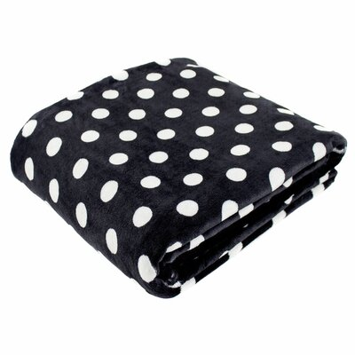 Canyon Creek Polka Dot Printed Fleece Blanket Size: 80 L x 60 W, Color: Black
