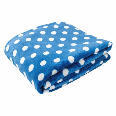 Canyon Creek Polka Dot Printed Fleece Blanket Size: 80 L x 60 W, Color: Teal