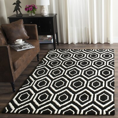 Wilkin Hand-Tufted Black/Ivory Area Rug Rug Size: Rectangle 8 x 10