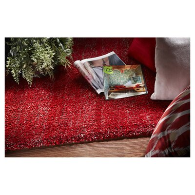 Shaggy Hand-Woven Red Area Rug Rug Size: Rectangle 76 x 96