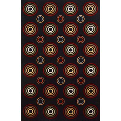 Geno Black Concentric Circles Indoor/Outdoor Area Rug Rug Size: 5 x 8