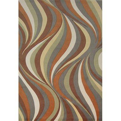 Geno Earthtone Waves Indoor/Outdoor Area Rug Rug Size: 23 x 33