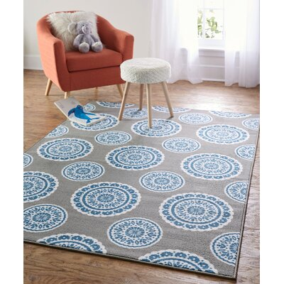 Shumake Medallion Circle Gray Area Rug Rug Size: 76 x 10