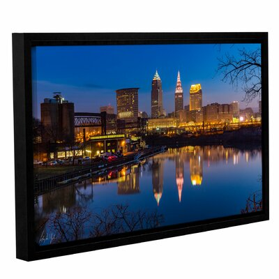 Cleveland Skyline River Reflection Sunrise' Framed Print Size: 12