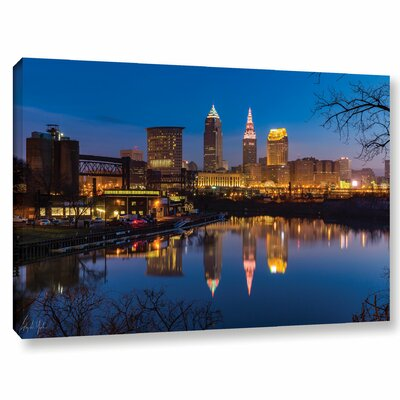 Cleveland Skyline River Reflection Sunrise Photographic Print on Wrapped Canvas Size: 12