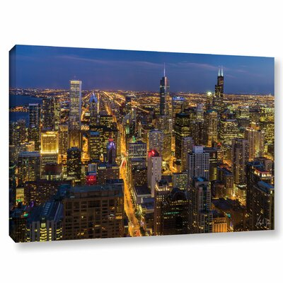 Chicago Skyline at Dusk Photographic Print on Wrapped Canvas Size: 12