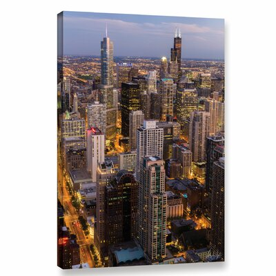 Chicago Skyline at Dusk Vertical Photographic Print on Wrapped Canvas Size: 12
