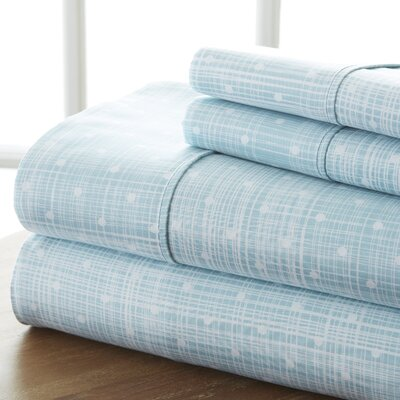 Severn Bridge Polka Dot Sheet Set Color: Aqua, Size: King
