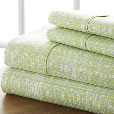 Severn Bridge Polka Dot Sheet Set Color: Moss, Size: California King