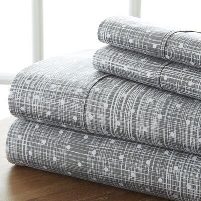 Severn Bridge Polka Dot Sheet Set Color: Gray, Size: Queen