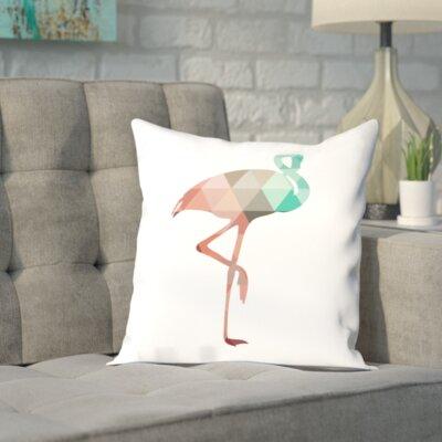 Melinda Wood Flamingo Throw Pillow Size: 16 H x 16 W x 2 D, Color: Mint Coral