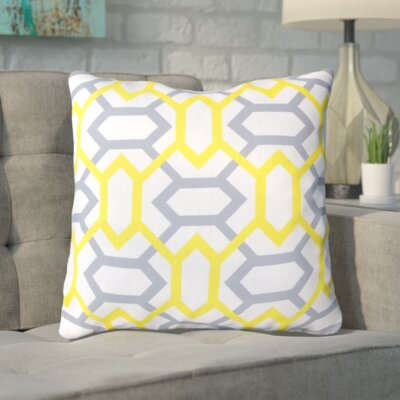 Applying the Diamonds Throw Pillow Size: 22 H x 22 W x 4 D, Color: White / Chartreuse Yellow / Gray, Filler: Down