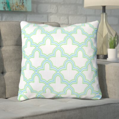 Maxwell Dazzling Decorative Throw Pillow Color: White/Neon Lime/Corn Flower Blue, Size: 22 H x 22 W, Filler: Down