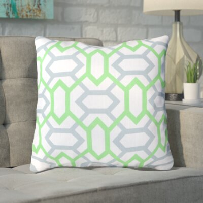 Applying the Diamonds Throw Pillow Size: 18 H x 18 W x 4 D, Color: Neon Lime / Foggy Blue / White, Filler: Down