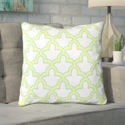 Maxwell Dazzling Decorative Throw Pillow Size: 18 H x 18 W, Color: White/Chartreuse Yellow/Neon Lime, Filler: Down
