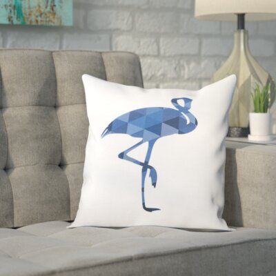 Melinda Wood Flamingo Throw Pillow Size: 18 H x 18 W x 2 D, Color: Navy