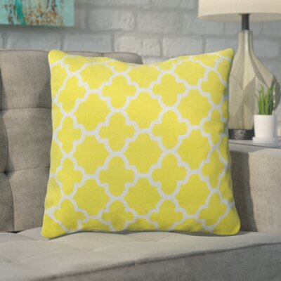 Arbogast Print Cotton Throw Pillow Color: Yellow