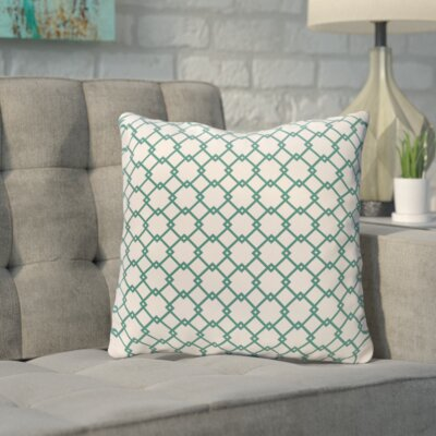 Bunnell Geometric Throw Pillow Size: 18 H x 18 W, Color: Off-White / Teal