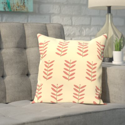 Sharrow Throw Pillow Size: 16 H x 16 W, Color: Yellow / Coral