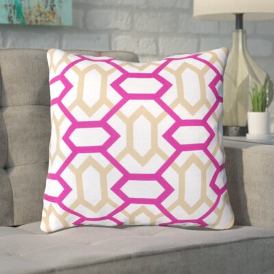 Appling the Diamonds Throw Pillow Size: 18 H x 18 W x 4 D, Color: White / Magenta / Safari Tan, Filler: Down