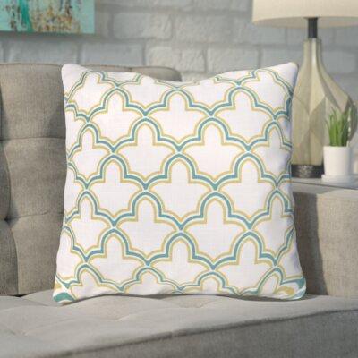 Maxwell Dazzling Decorative Throw Pillow Size: 18 H x 18 W, Color: Fern Green/Sea Green/Peach Cream, Filler: Down