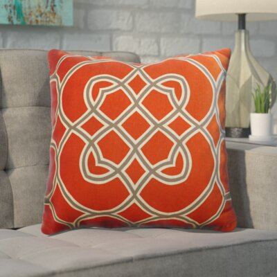 Kupfer Throw Pillow Size: 22 H x 22 W x 4 D, Color: Poppy Red / Elephant Gray / Parchment, Filler: Down