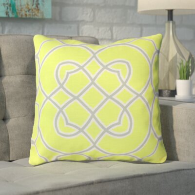 Kupfer Throw Pillow Size: 22 H x 22 W x 4 D, Color: Limeade / Slate Gray / White, Filler: Down