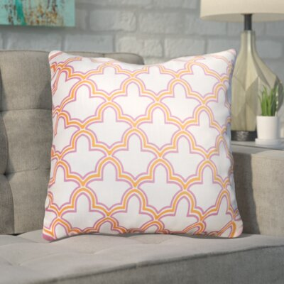 Maxwell Dazzling Decorative Throw Pillow Size: 22 H x 22 W, Color: White/Magenta/Orange Peel, Filler: Down