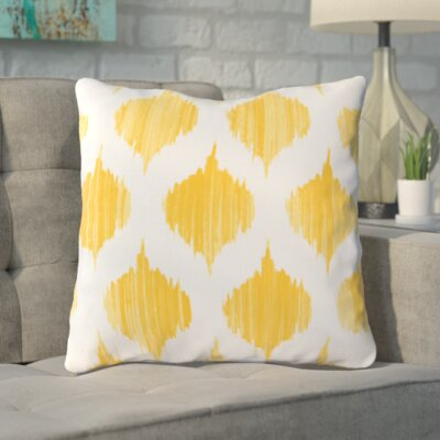 Cline 100% Cotton Throw Pillow Size: 18 H x 18 W x 4 D, Color: Yellow, Filler: Down