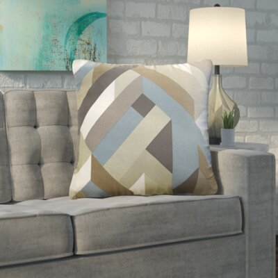 Wava 100% Cotton Throw Pillow Size: 18 H x 18 W x 4 D, Color: Gray, Filler: Polyester