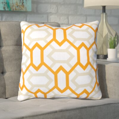Appling the Diamonds Throw Pillow Size: 22 H x 22 W x 4 D, Color: White / Moth Beige / Tangerine, Filler: Down