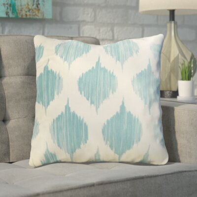 Cline 100% Cotton Throw Pillow Size: 18 H x 18 W x 4 D, Color: Blue, Filler: Down