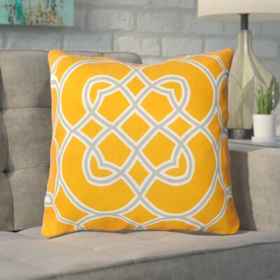 Kupfer Throw Pillow Size: 22 H x 22 W x 4 D, Color: Orange Peel / Foggy Blue / White, Filler: Down
