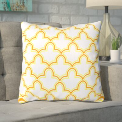 Maxwell Dazzling Decorative Throw Pillow Size: 18 H x 18 W, Color: White/Chartreuse Yellow/Tangerine, Filler: Down