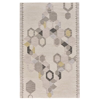 Willowick Hand-Tufted Ivory/Yellow Area Rug Rug Size: Rectangle 5 x 8