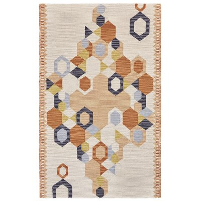 Willowick Hand-Tufted Orange/Ivory Area Rug Rug Size: 5 x 8