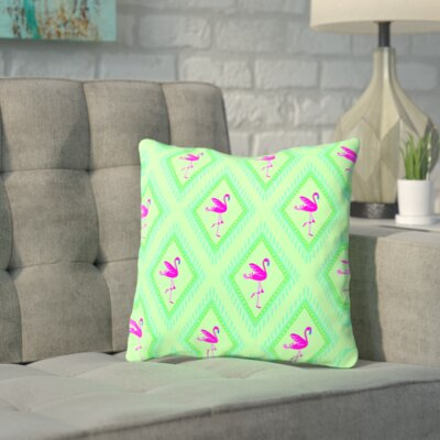 Shamblin Flamingo Green Throw Pillow Size: 14 H x 14 W x 2 D