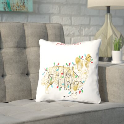 Shipley Merry and Bright Dog Throw Pillow Size: 16