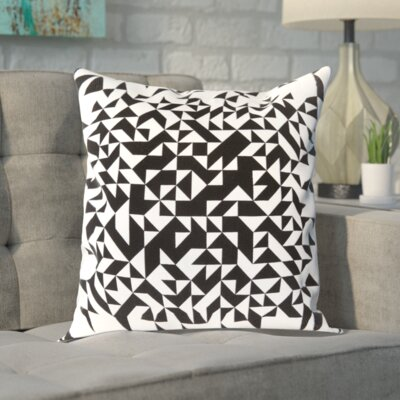Sersic 100% Cotton Throw Pillow Cover Size: 20 H x 20 W x 1 D, Color: BlackNeutral