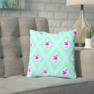 Shadrick Flamingo Blue CaraKozik Throw Pillow Size: 16 H x 16 W x 2 D, Color: Blue