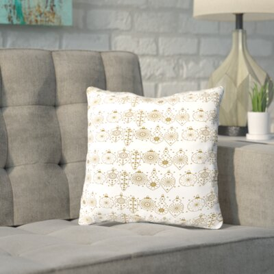 Shingleton Golden Ornaments Throw Pillow Size: 14 H x 14 W x 2 D