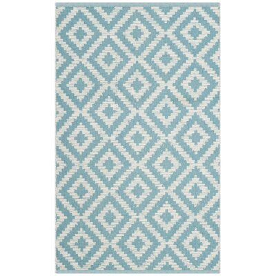 Harlow Hand-Woven Light Blue/Ivory Area Rug Rug Size: Runner 23 x 7