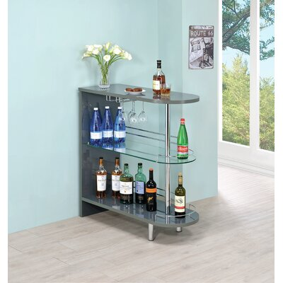 Milwaukee Bar with Wine Storage Finish: Gray
