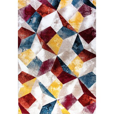 Sanibel Blue/Yellow/Red Area Rug Rug Size: Rectangle 53 x 77