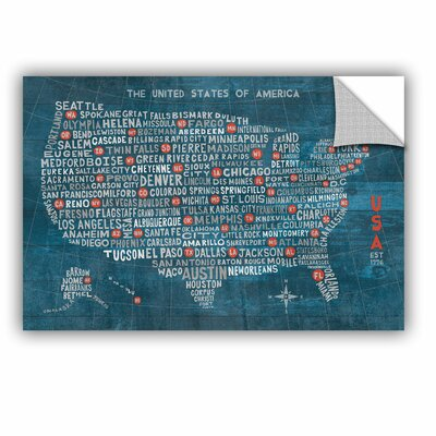 US City Map on Wood Blue Wall Mural Size: 12