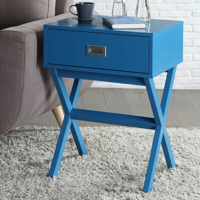 Kathleen 1 Drawer End Table Finish: Blue