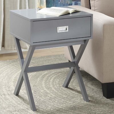 Kathleen End Table With Storage Color: Grey