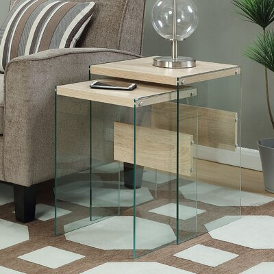 Calorafield 2 Piece Nesting Tables Finish: Weathered White