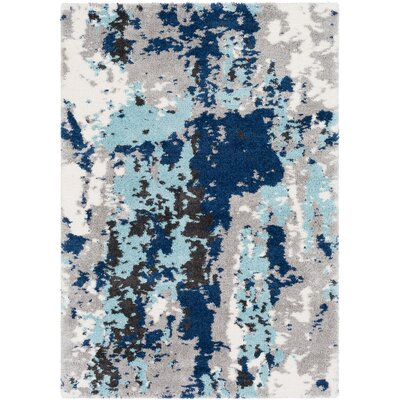 Highland Creek Medium Gray/Aqua Area Rug Rug Size: Rectangle 53 x 73